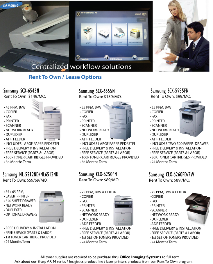 Rent 2 Own copiers, MFP,and laser printers